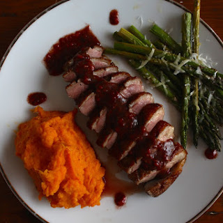 Raspberry Duck with Ginger Coconut Sweet Potato and Baked Asparagus.