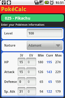 Screenshot of PokéCalc Trainer Edition
