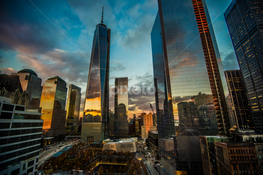 One World Trade Center by Jeff Ortakales - City,  Street & Park  Skylines ( skyline, memorial, world trade center, sunset, buildings, night, skyscaper, new york city, new york, architecture, nyc )