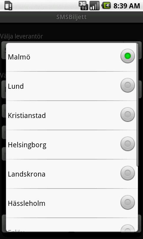 SMSBiljett (GRATIS) - screenshot
