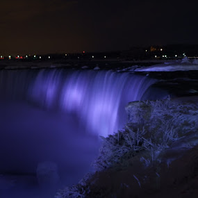 Niagara Falls at Night by Dave Davenport - Landscapes Waterscapes ( waterfalls, night photography, waterscape, water falls, water fall,  )