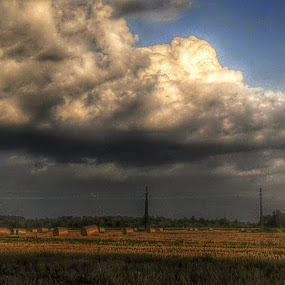 Dark Clouds over Field of Hay by Nat Bolfan-Stosic - Landscapes Cloud Formations ( clouds, field, hay, dark, storm, stormy, weather )