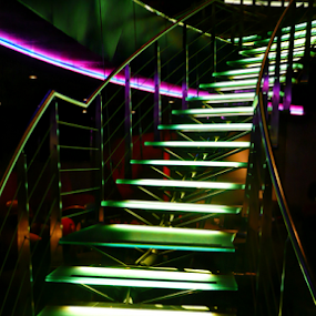 The Vault Stairs by Deborah Russenberger - Buildings & Architecture Other Interior ( stairs, green, neon,  )