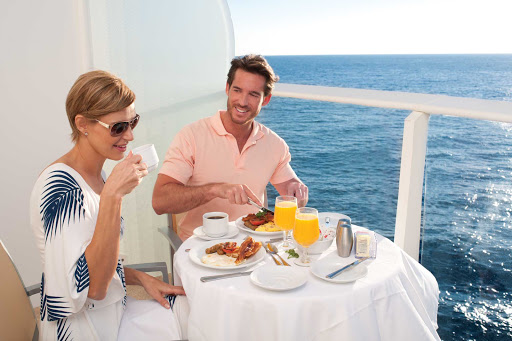 Allure-of-the-Seas-stateroom-alfresco-dining - Room with a view: Al fresco dining on your private veranda during an Allure of the Seas cruise.