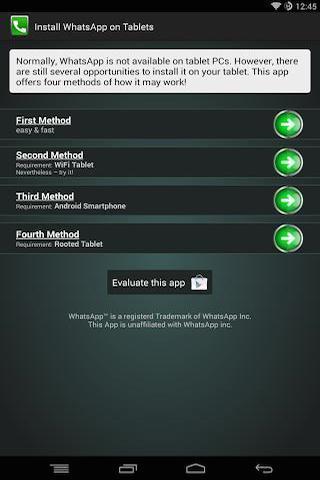 Install Whatsapp on Tablet