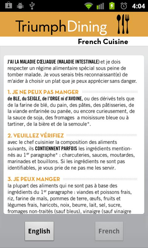 Gluten Free French- screenshot