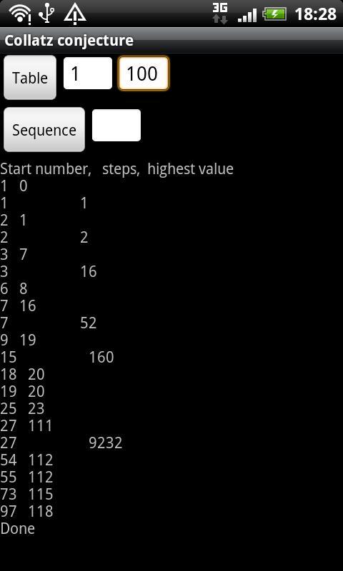 Collatz conjecture- screenshot
