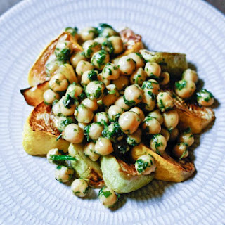 Roasted Patty Pan Squash and Herbed Chickpeas.