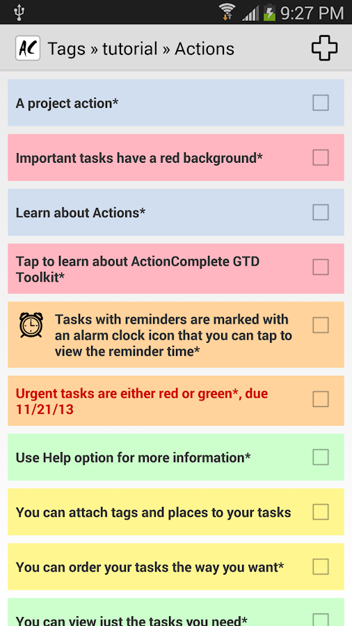 ActionComplete GTD Toolkit- screenshot