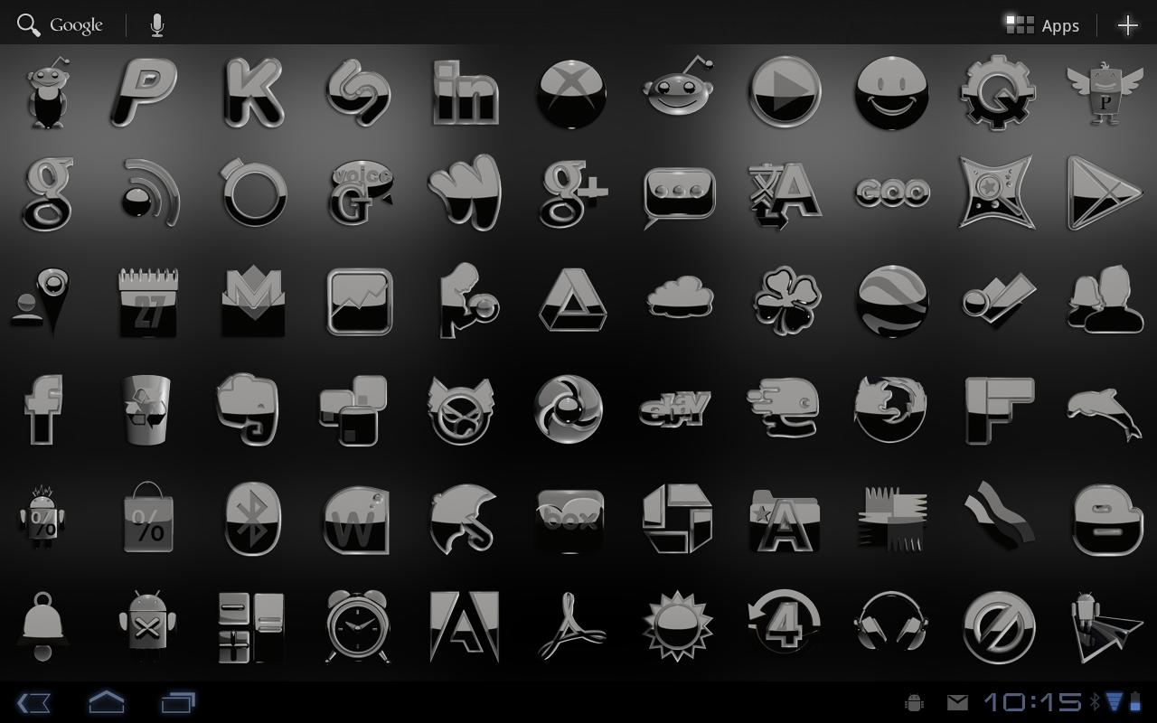 Google themes black and white - Next Launcher Theme Black Screenshot