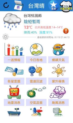 台灣晴 - 天氣 氣象 預報 停課 颱風 地震 影音 小工具