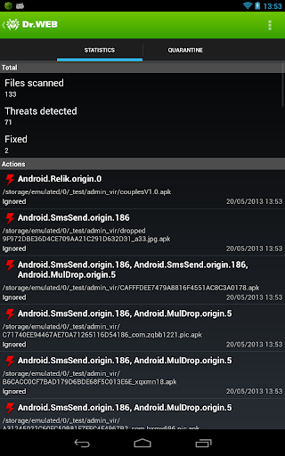 Dr Web v 9 Anti-virus Life license cracked for Android