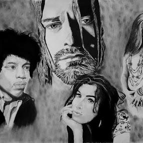 27 club by Catherine Cross - Drawing All Drawing ( charcoal, retro, drawing pastel, portrait )
