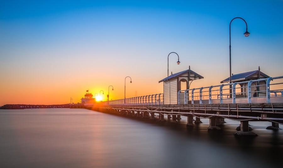 Sunset at St. Kilda Beach, Melbourne by Zubair Aslam - Landscapes Sunsets & Sunrises ( exposure, melbourne, st. kilda, melbourne city, long exposure, kilda, golden hour, st kilda,  )