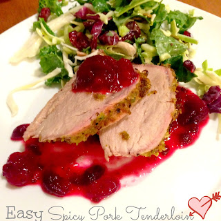 Easy Spicy Pork Tenderloin with Cranberry Jalapeño Compote.