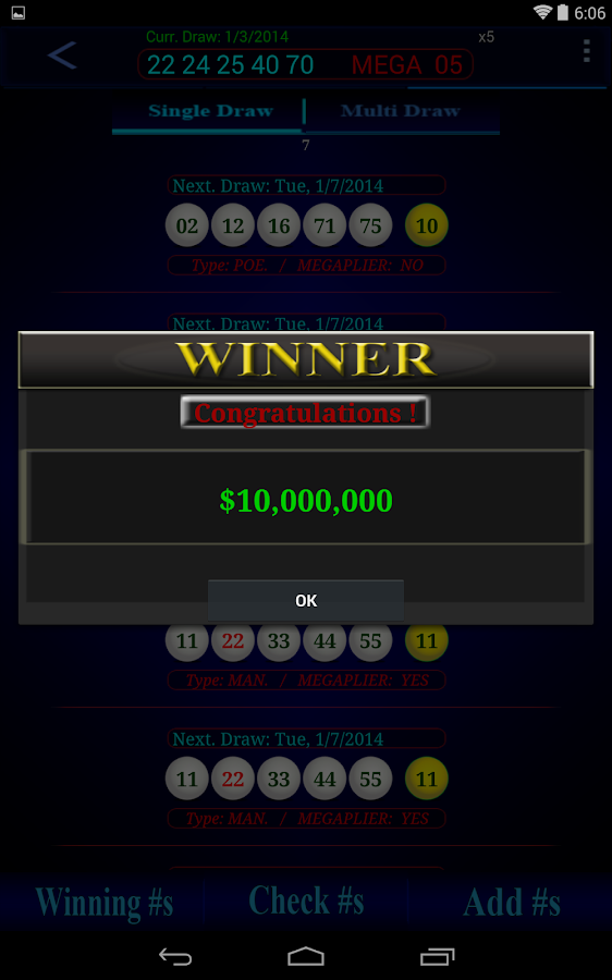 Mega Millions lottery- screenshot