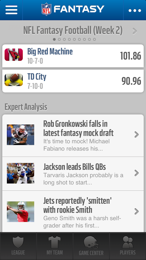 NFL.com Fantasy Football 2013 - screenshot