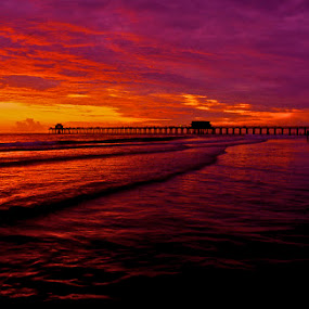 Winter Front  by Chris Wilson - Landscapes Sunsets & Sunrises ( water, naples, red, winter, sunset, florida, beach, seascape, gulf of mexico, landscape )