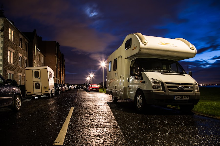 Motorhomes parked for the night by Buster Brown - Transportation Automobiles ( scotland, blackness, musselburgh, harbour, street, cultural, 50mm, stone, architecture, cityscape, landscape, council, city, colourful, river clyde, dark, long exposure, commercial, burgh, water, building, memorial, british, boats, town hall, gardens, scottish, tourism, still, buster brown, colours, urban, canon 6d, tower, night, castle, town, historical, keep )