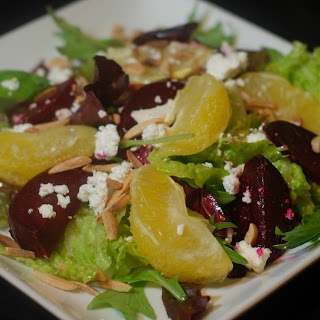 Roasted Beet Salad with Oranges and Goat Cheese.
