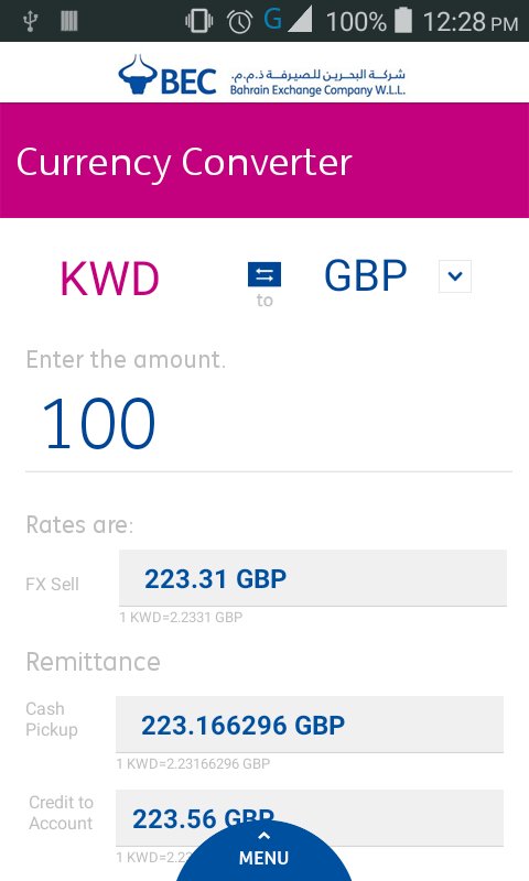 BEC Currency Converter- screenshot