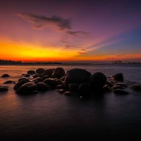 Golden Glow by GokulaGiridaran Mahalingam - Landscapes Sunsets & Sunrises ( canon, clouds, seashore, sunset, trees, seascape, beach, landscape, glow, dusk, rocks, singapore )