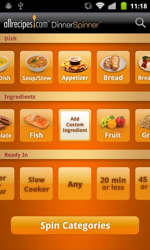 Allrecipes.com Dinner Spinner - screenshot