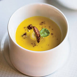 Roasted Squash Soup with Maple-Glazed Bananas.