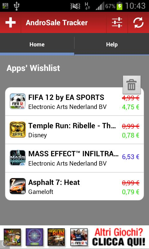 AndroSale Tracker - Wishlist - screenshot