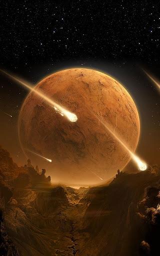 茶色の大地と流れ星