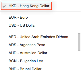 Default currency in the currency drop-down