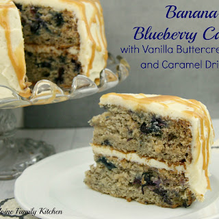 Banana & Blueberry Cake with Vanilla Buttercream and Caramel Drizzle