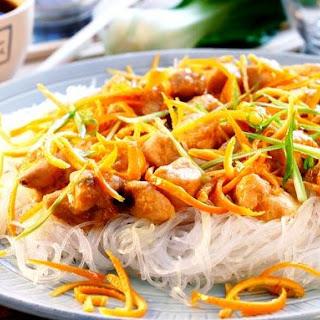 Orange Zest Chicken On Glass Noodles.