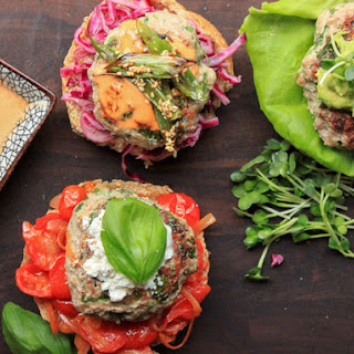 Juicy Turkey Burgers With Avocado-Cumin Mash and Sprouts