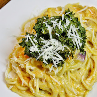 Pasta With A Light Sweet Potato Cream Sauce And Kale Chips.