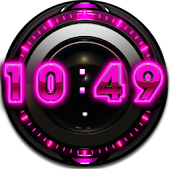 Pink Glow Digital Clock Widget