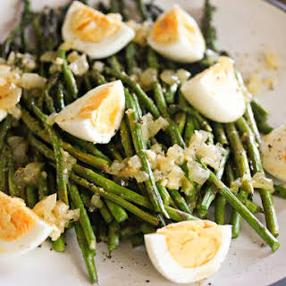 Grilled Asparagus With Hard-Boiled Eggs and Crispin Cider Vinaigrette.