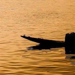 Sailing by Caesar Jees - Landscapes Waterscapes ( water, sunset, kolkata, silhouette, boat, people, river )