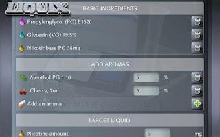 Screenshot of Liquix E-Liquid Calculator
