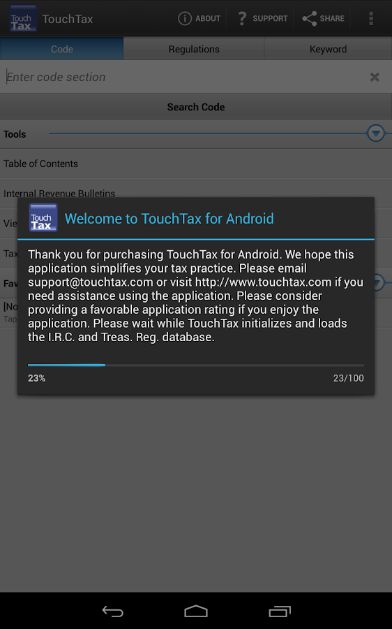 Tax Code and Regs - TouchTax - screenshot