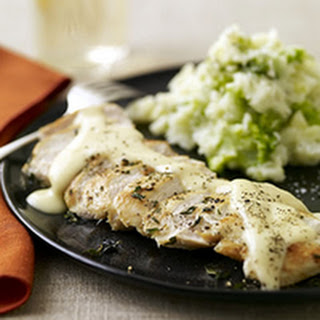 Quick Chicken with Gouda Gravy and Smashed Brocco-tatoes.