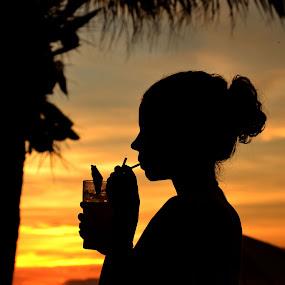 Silhouette sunset by Matt Hulland - People Street & Candids ( palm tree, sunset, silhouette, drink, cocktail, beach, profile )