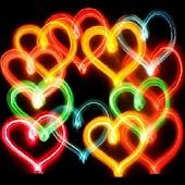 3D colorful hearts