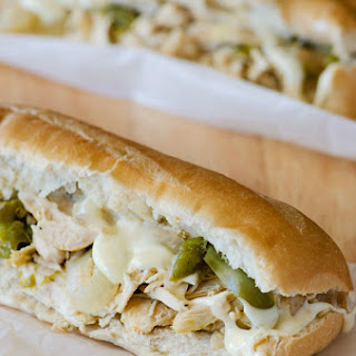 Crock Pot Chicken Cheesesteak Sandwiches