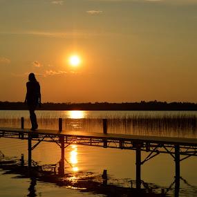 Sunset, Bemidji, Minnesota by Kathleen Koehlmoos - Novices Only Landscapes ( bemidji, wolf lake, minnesota, girl, gorgeous, silhouette, sunset, beautiful, lake, summertime, light, golden,  )