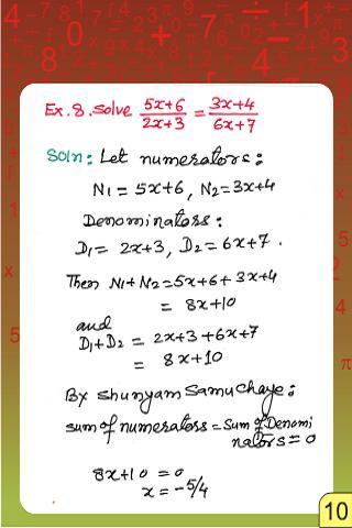 Vedic Maths Equations Solving