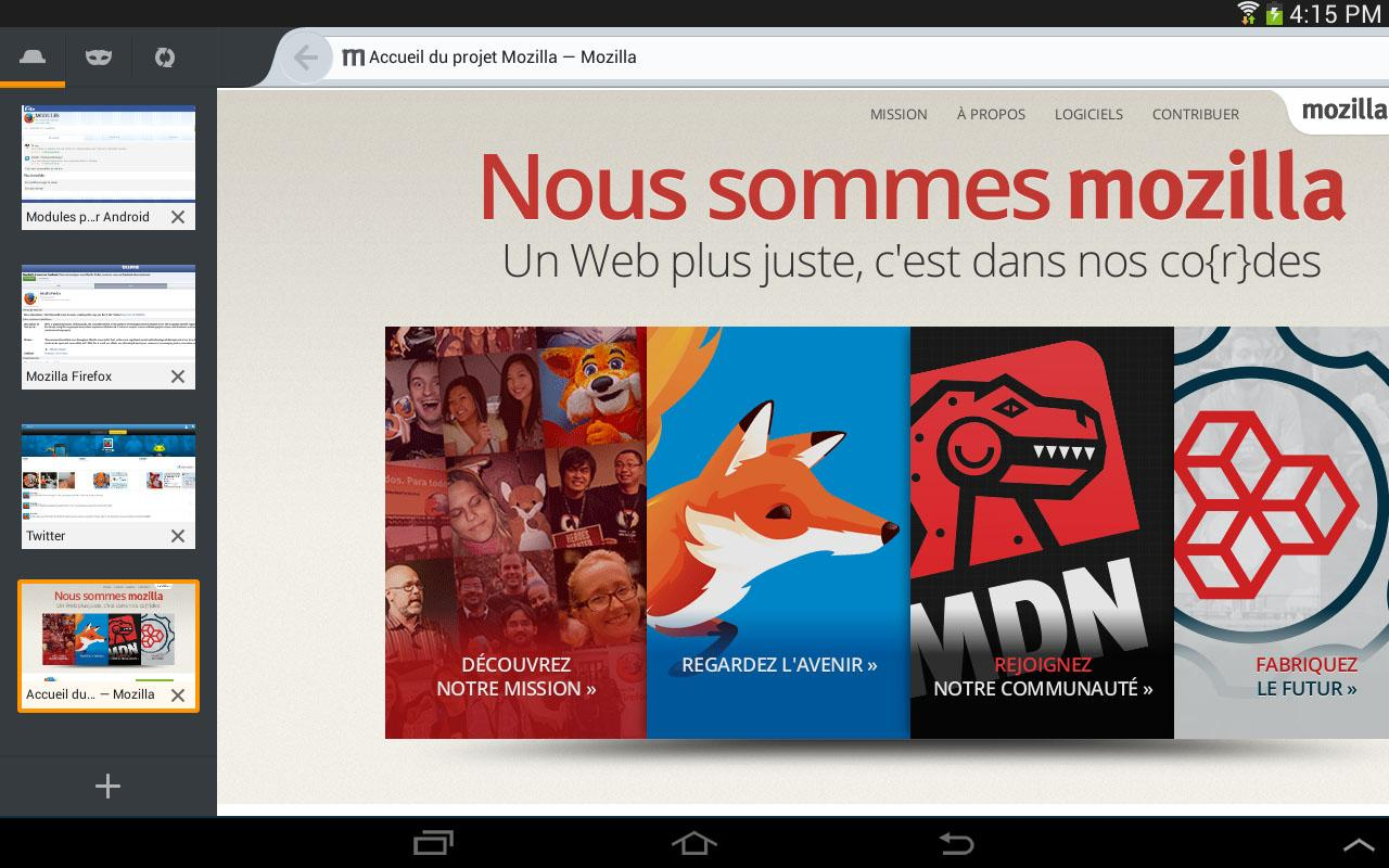 Firefox pour Android - screenshot