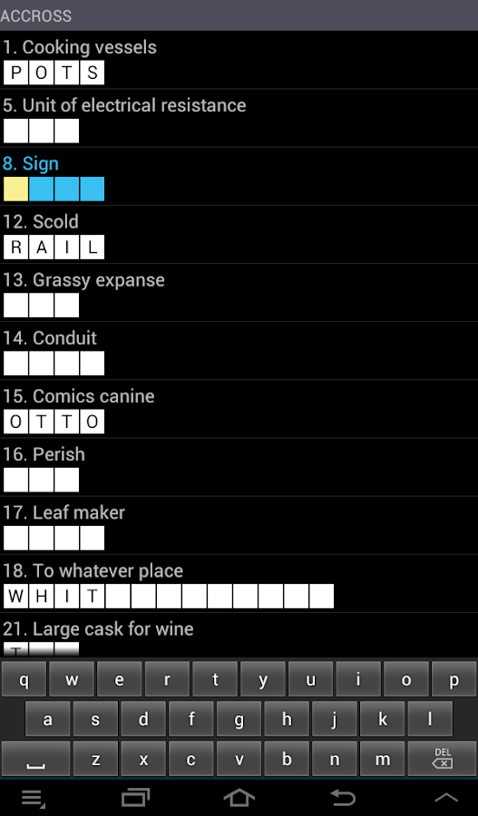Crossword  Puzzle (US) game- screenshot