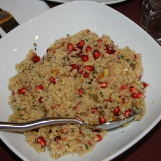 Couscous or Burglar Salad with Pomegranate Seeds.