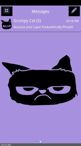 Grumpy Cat Purple Go SMS Theme